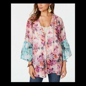 Style & Co Women's Bell-Sleeve Chiffon Cardigan